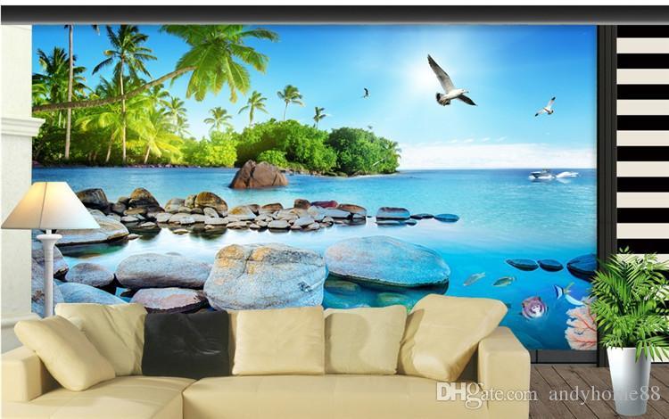 Индивидуальные Средиземноморский 3D стерео Мальдивы вид на море обои гостиная диван ТВ фон обои большие фрески фейфан
