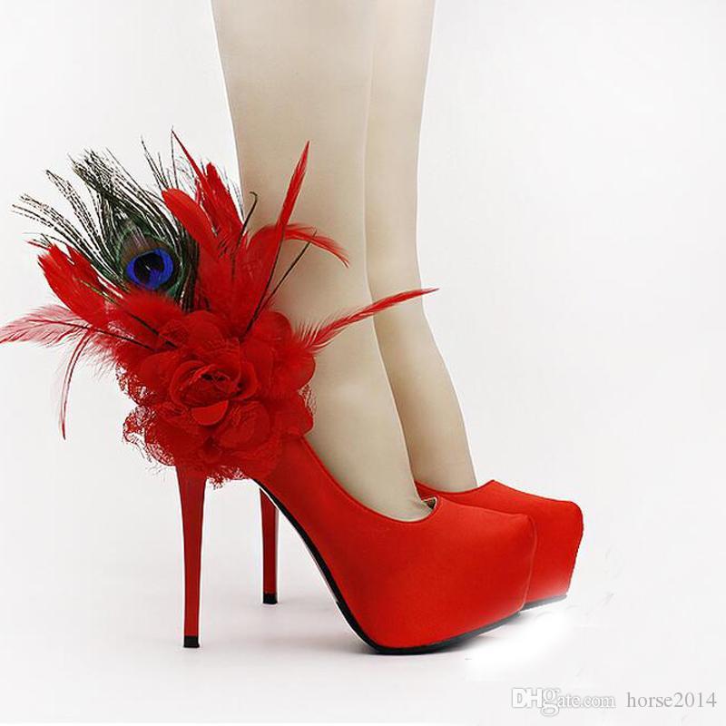 2019 Moda Vermelho Floral Pena Sapatos De Noiva Moda Utra Plataforma De salto Alto Bombas de Vestido sapatos femininos Para Festa de Casamento Sapatos