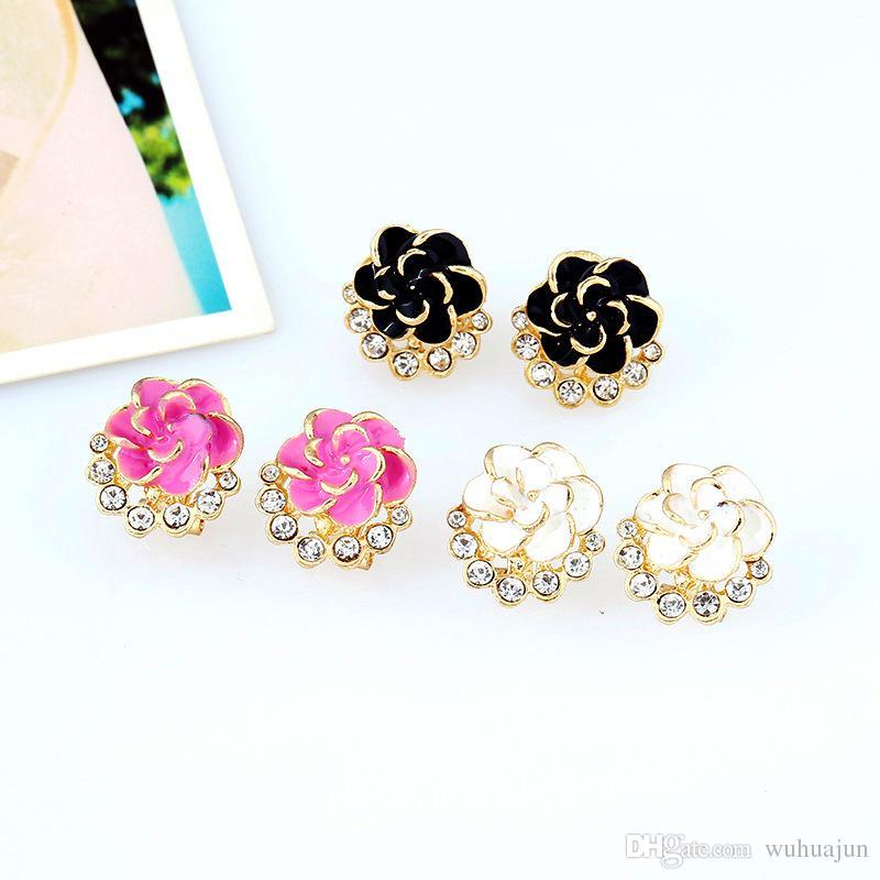 Hot Selling Fashion Rose Flower Boutique Earrings Women Epoxy Crystal Stone Stud Dark Pink/White/Black Earrings