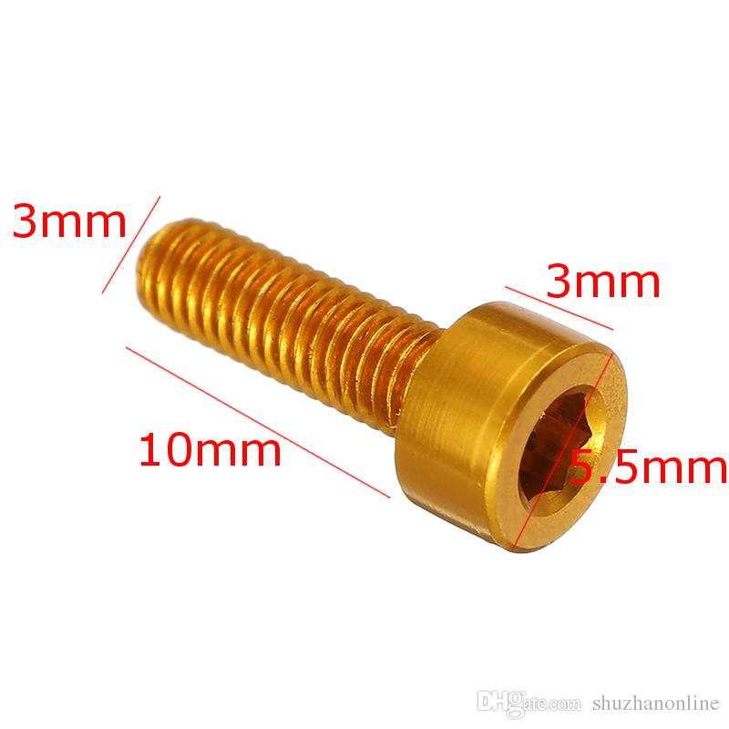 Tornillos cabeza hexagonal M3x10mm Hexagonal 7075 Aleación de aluminio oro