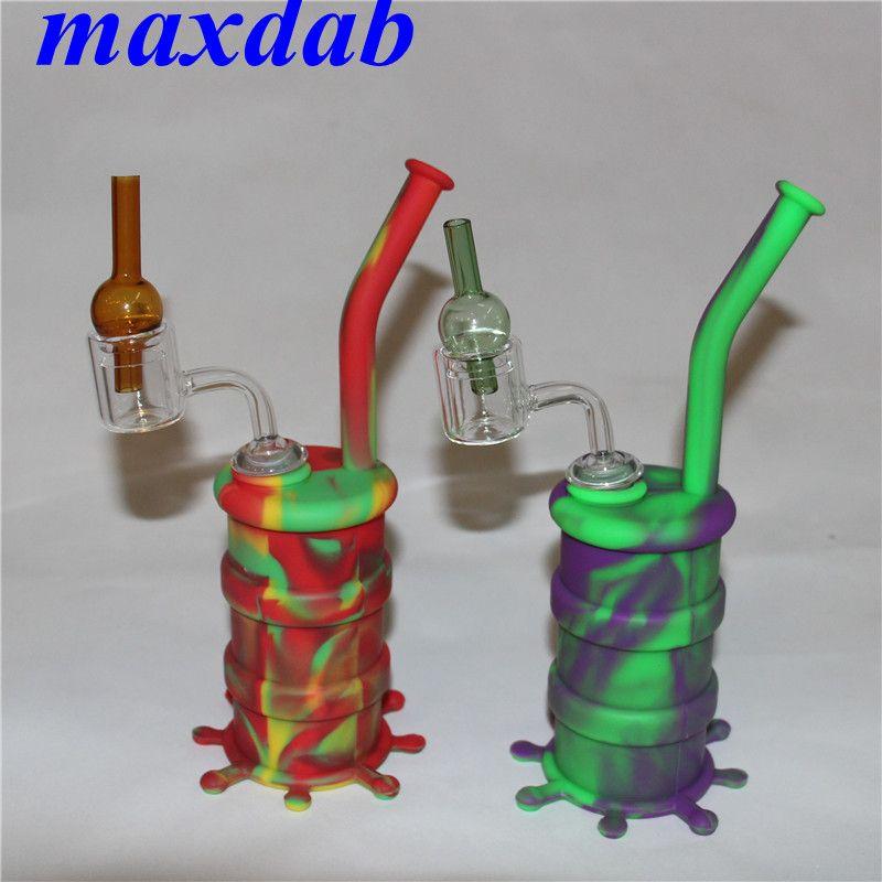 Bongs de anzuelo de tubería de agua de silicona con banger de cuarzo de doble tubo y gorro de vidrio con tapa de silicona plataforma dab