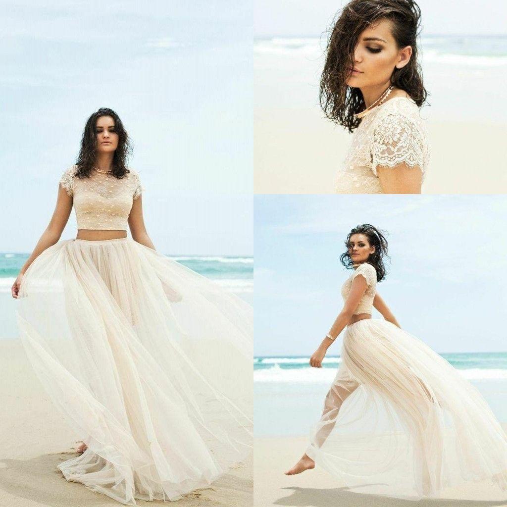Großhandel 2016 Sommer Zwei Stück Hochzeitskleid Strand Juwel ...