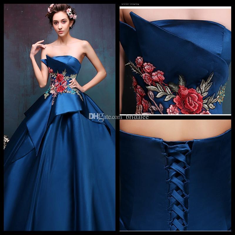 Di lusso blu navy lunghi abiti da sera 2016 cristalli pavimento lunghezza abito formale abito da ballo di promenade vestidos de fiesta