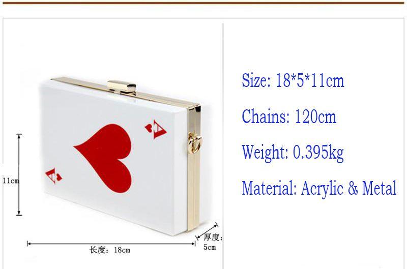 Hot Wholesale Poker Acrylic Handbag Purse Lady Clutch Banquet Purse Evening Bag Elegant Chain Messenger Floral Poker Box Bag - RC031