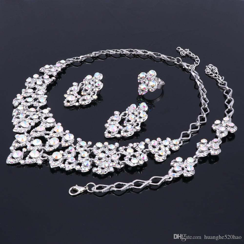 Top Exquisito Silver Colors Crystal Embedded Scarf Pattern Necklace Pulsera Anillo Pendiente African Beads Jewelry Set