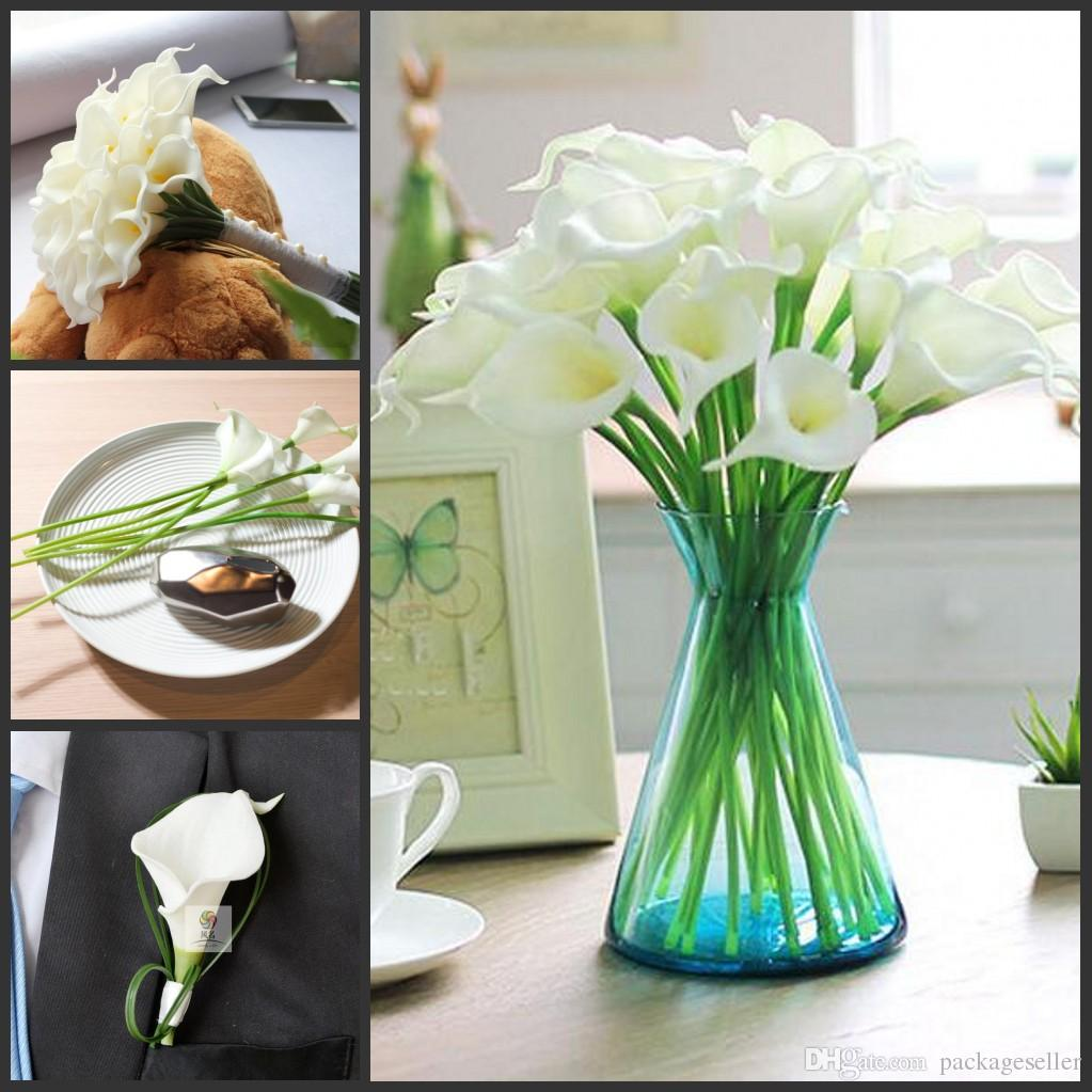 33cm Length Elegant White Real Touch Latex Calla Lily Flower Wedding