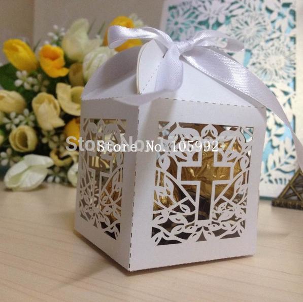 2015 Jesus Christian Laser Cut Wedding Favor Box Cross Candy Box