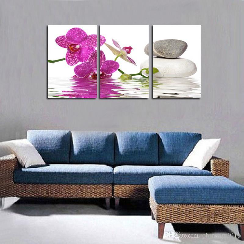 HD печатный живопись на холсте орхидея камень пейзаж масляной живописи современные популярные стены искусства фотографии украшения дома 16x24inchx