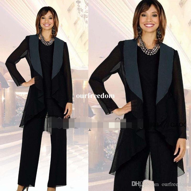 Élégant 2019 Noir En Mousseline De Soie Mère De La Mariée Pantalon Satin Avec Col Occasion Spéciale Femmes Outfit Custom Made New Sale