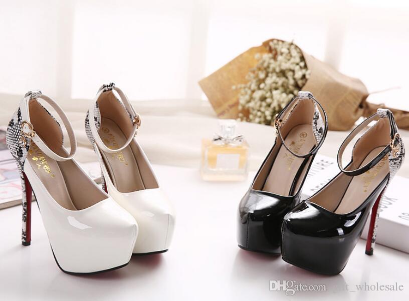 2016 Nova primavera moda feminina stiletto nobre partido plataforma sexy cintas Padrão Cobra Coreano princesa sapatos de salto branco / preto