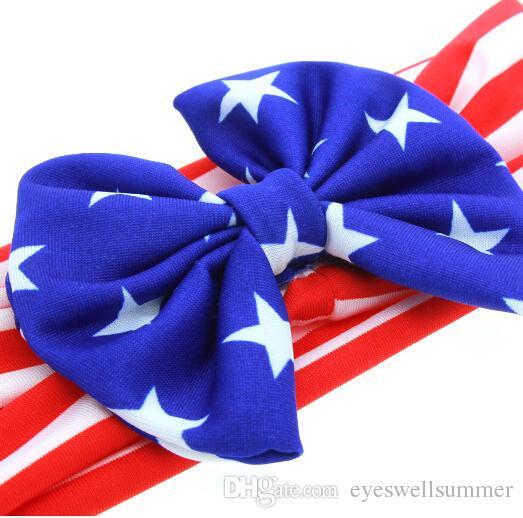 Nuevo corte American Baby Stars cortocircuitos Bandera diadema Día arco de las muchachas Banda Nacional de pelo Elasticidad infantil Accesorios para el cabello