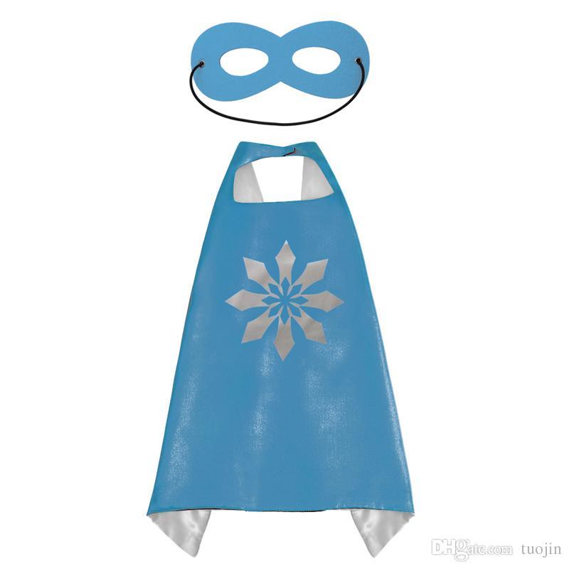 Doppelseite Designs 70 * 70 cm Kinder Superheld Cape Cartoon Niedlichen Umhänge und Masken Kinder Kinder Umhänge Cosplay Party Kostüme Halloween Geschenk