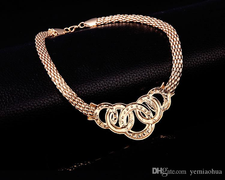 18K Gold Plated Rhinestone Chunky Chain Statement Necklace Bracelet Earrings Ring Vintage Women Bridal Wedding Party Jewelry Sets
