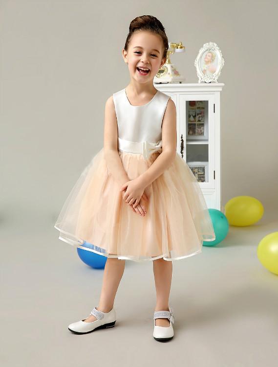 Peach colored flower girl dresses