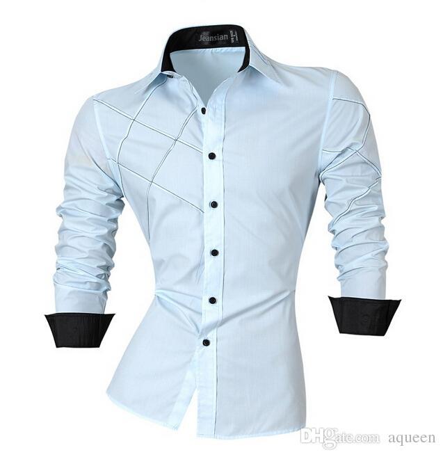 2016 casual gömlek elbise erkek erkek giyim uzun kollu Tek Göğüslü sosyal slim fit marka butik pamuk batı düğmesi