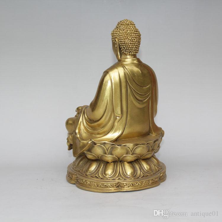 Tibet Buddhism Brass Copper Sit lotus flower Shakyamuni Tathagata Buddha Statue