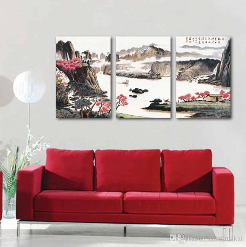 Wall decoration no frame art picture on Canvas Prints mountain tree grassland house cloud fog river Bridge waterfall crane
