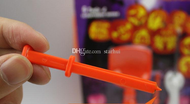 5 Pz / lotto Halloween Pumpkin Carving Kit FAI DA TE Bambini Bambini Bambini Zucca Lanterna Intaglio Giocattolo Coltello Set Strumenti WX9-83
