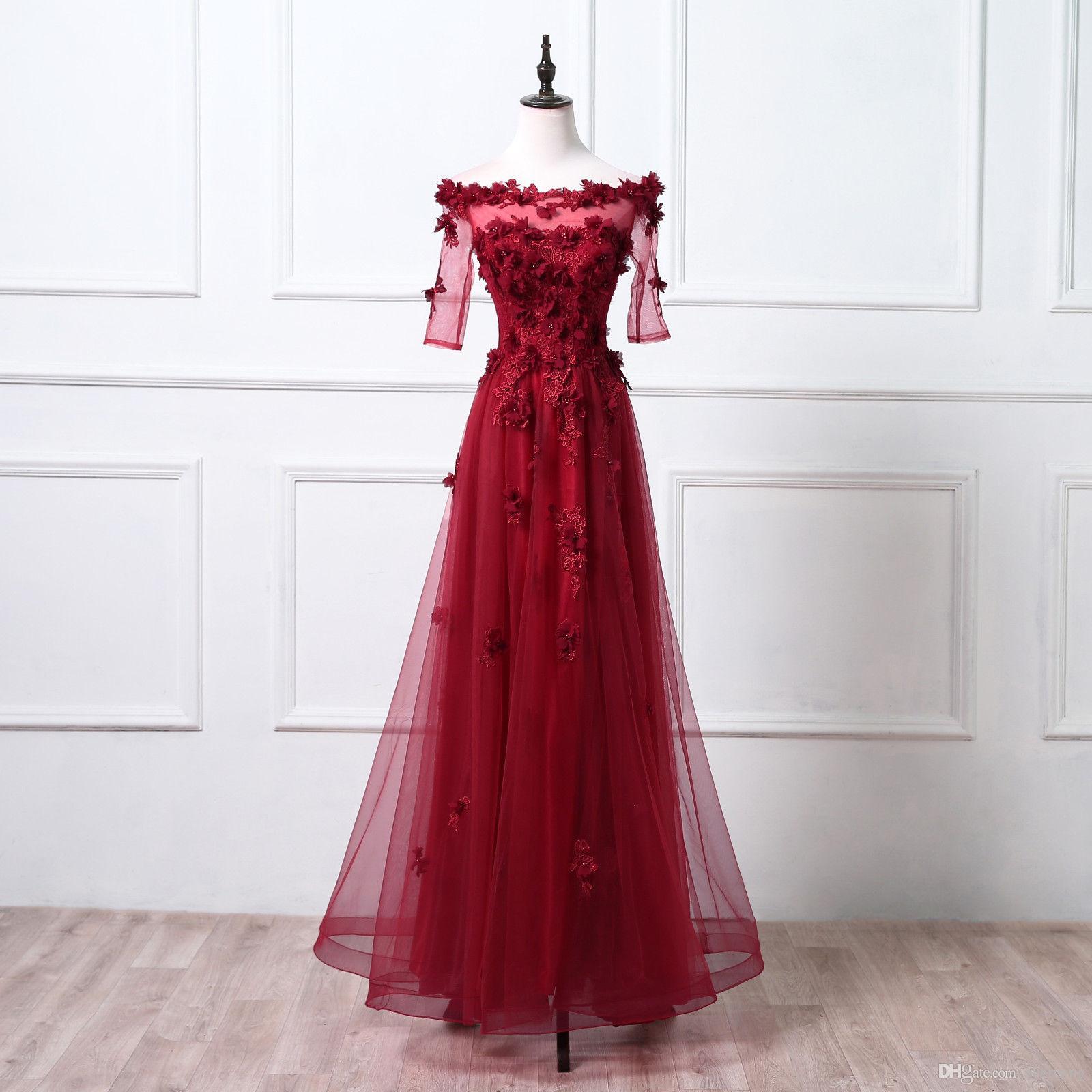 cd2354a00 Compre Modabelle Elegante Vestido De Noche Robe De Soiree La Novia Borgoña  Flor De Encaje Rebordear Fiesta Larga Vestidos De Baile Personalizados A   99.2 ...