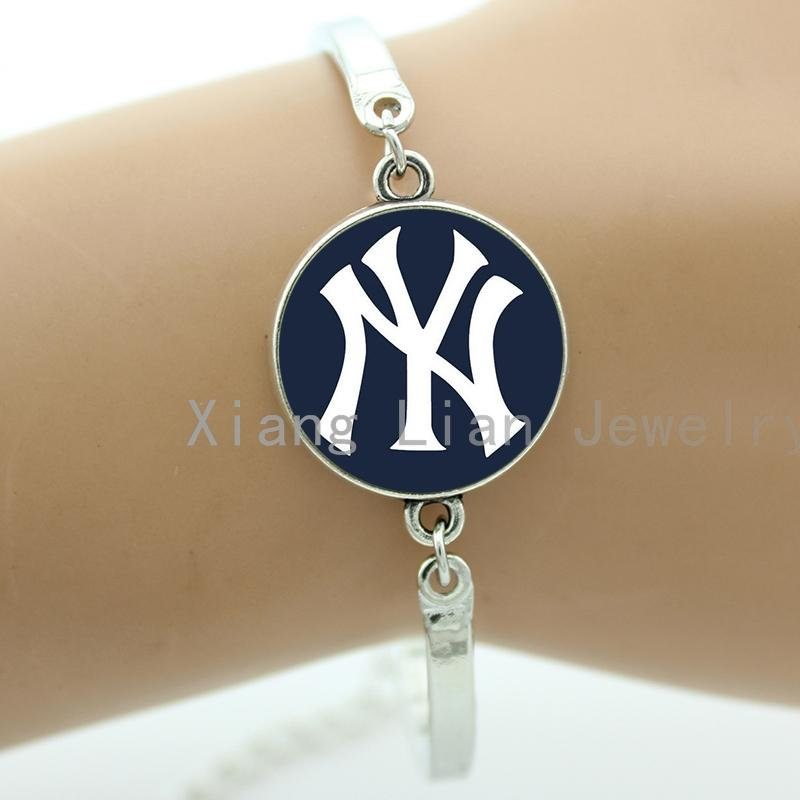 Super cool baseball sports American league case for New York Yankee team logo bridal necklace earrings bracelet jewelry set M08