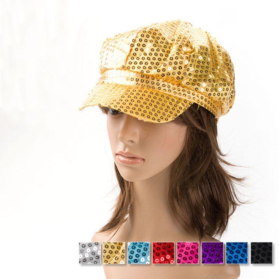 81ce48b81f Wholesale-12pcs/lot Fashion NEW Lady Sequins Newsboy Cabbie Hat Visor Beret  Cap