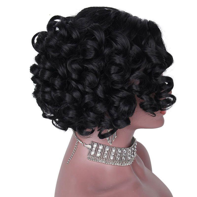 Peluca rizada sintética peluca negra de 12