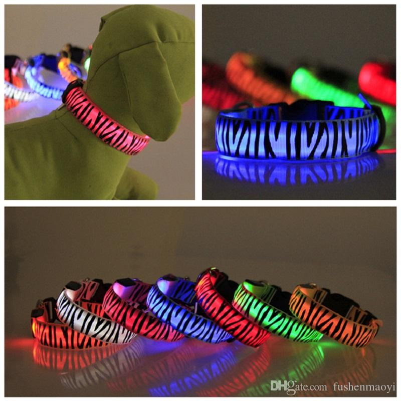 Brand new Pet Dog Accessories flashing light LED Dog Collars Zebra Pattern USB Rechargeable battery 4 sizes