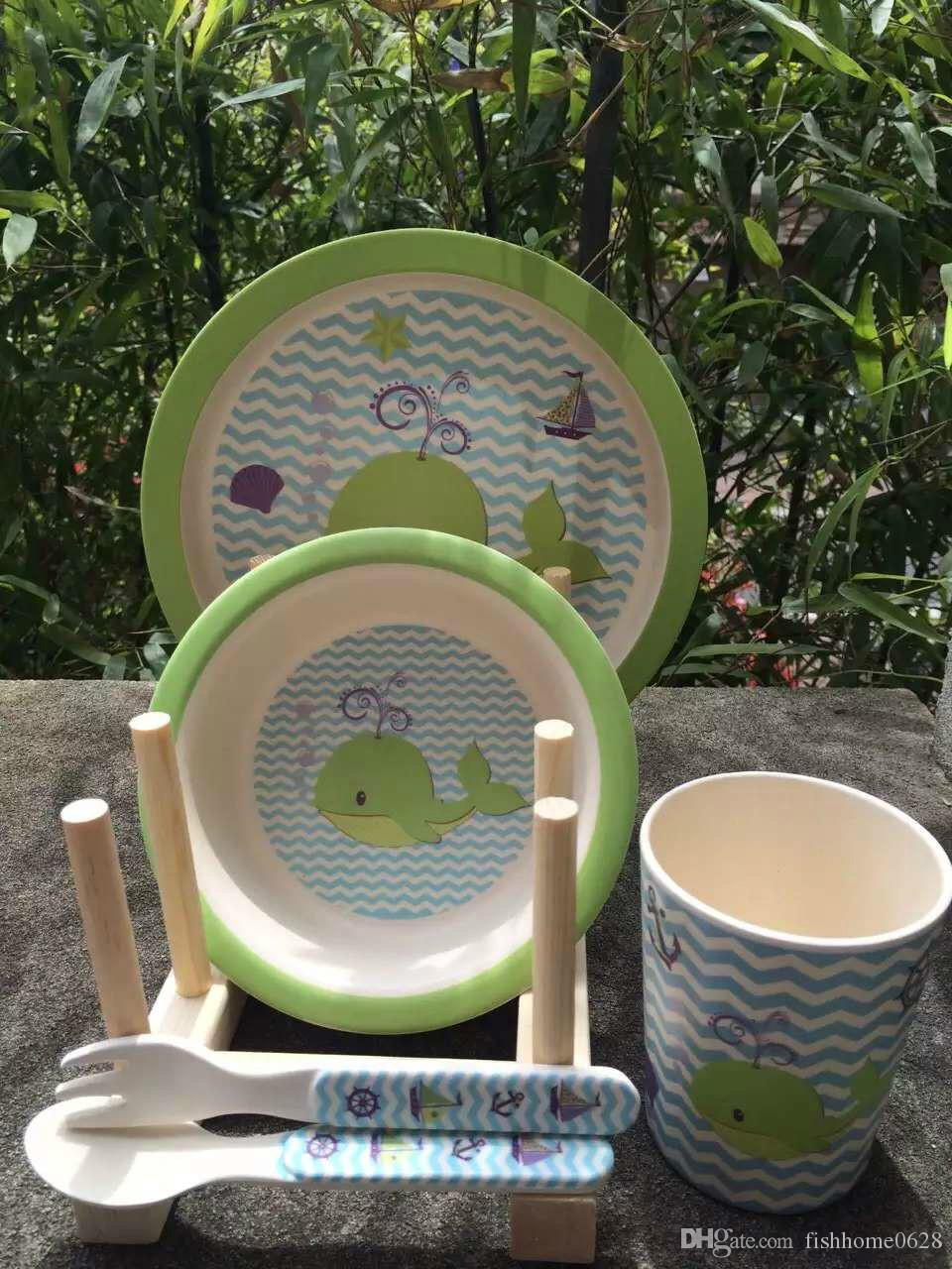 New Arrival! S/5 100% Biodegradable Baby Bamboo Fibre Dinnerware ...