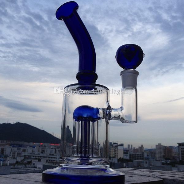 DHL frei Single Layer 6 Arm Baum Perc Bong geschmackvolle Form mit blauem Glas akzentuiert Perks blaue Glasakzenten auf dem ausgestellten Mundstück