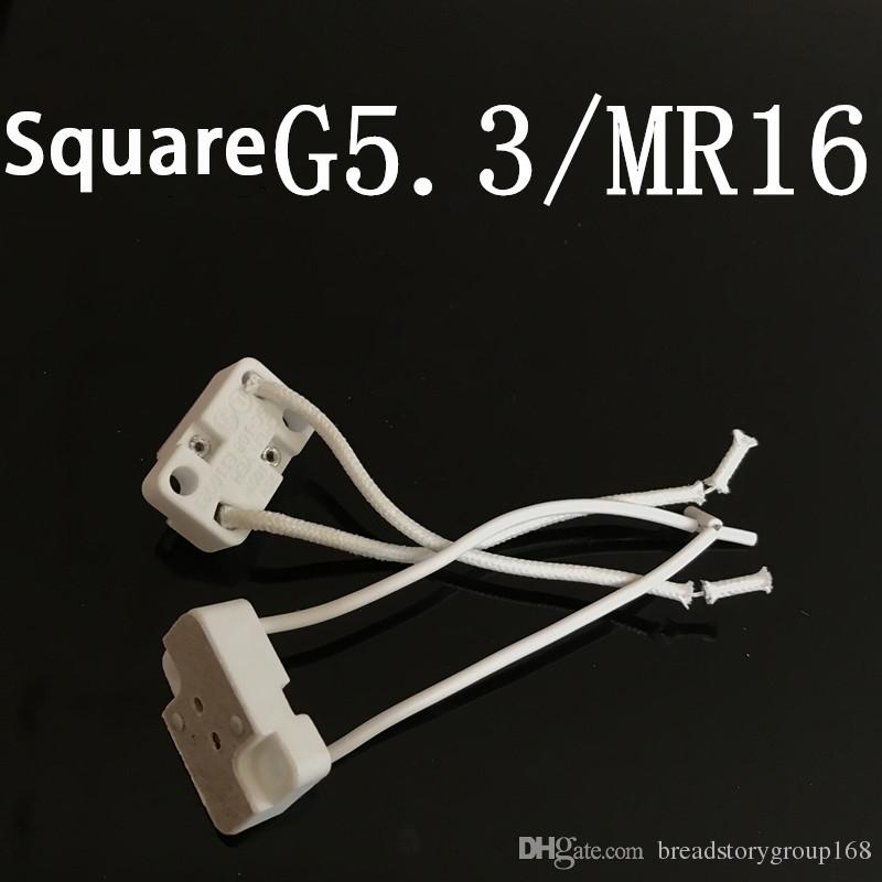 G5.3 Ceramic Lamp Holder G4 Aging Test Lamp Socket MR16 Square Lamp Base Weaving Wire Silicone Wire Optional