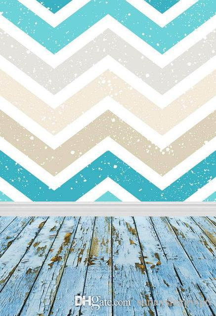 Blue Gray Zigzag Wallpaper Shabby Floor 5x7ft Photography Studio Backgrounds Wedding Baby Children Party Backdrop Chic Decorations Teal