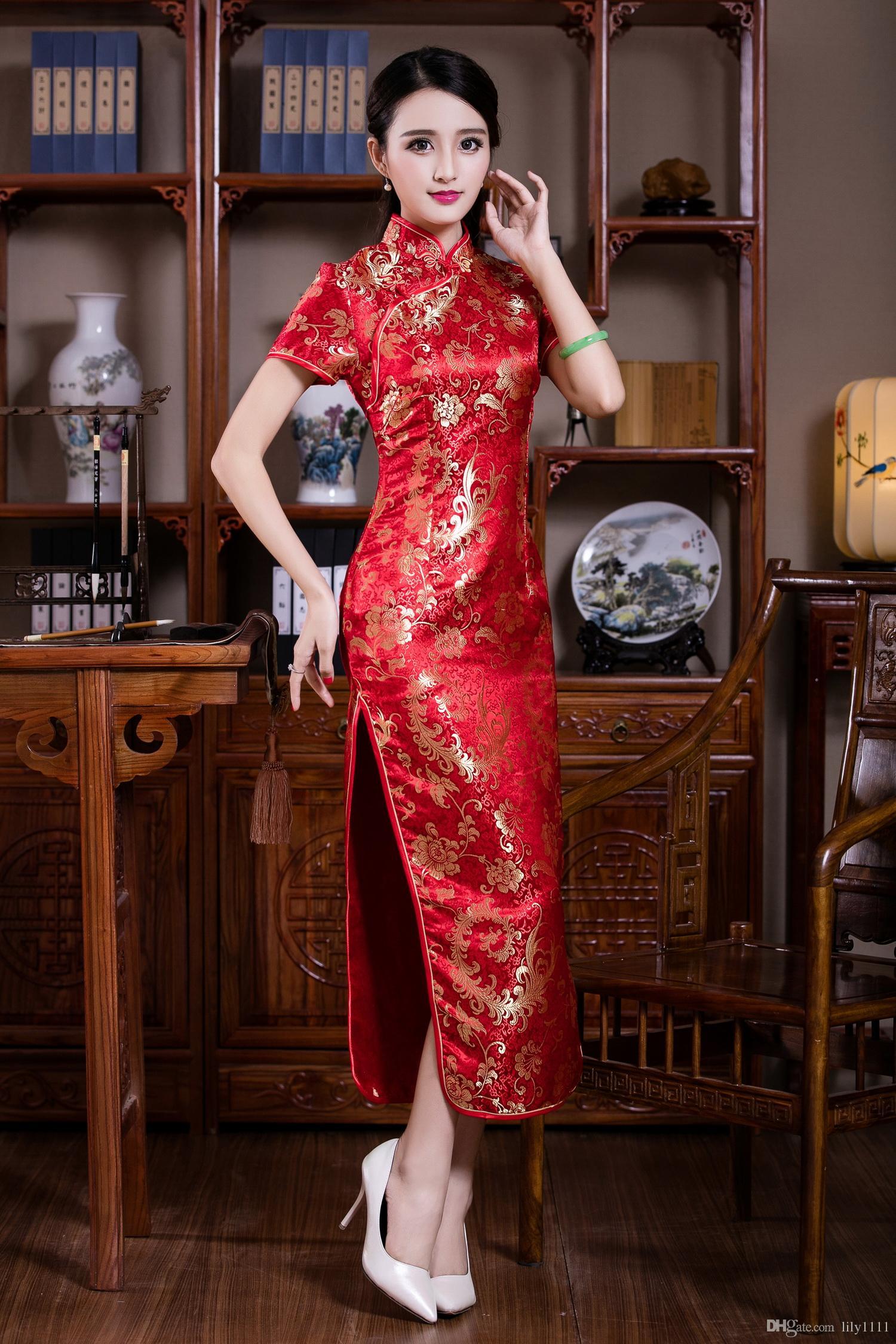 Qipao vestido de las mujeres traje tradicional chino barato libre Ropa de Cheong-sam de vestir vestidos largos de China vestidos de rojo de la vendimia