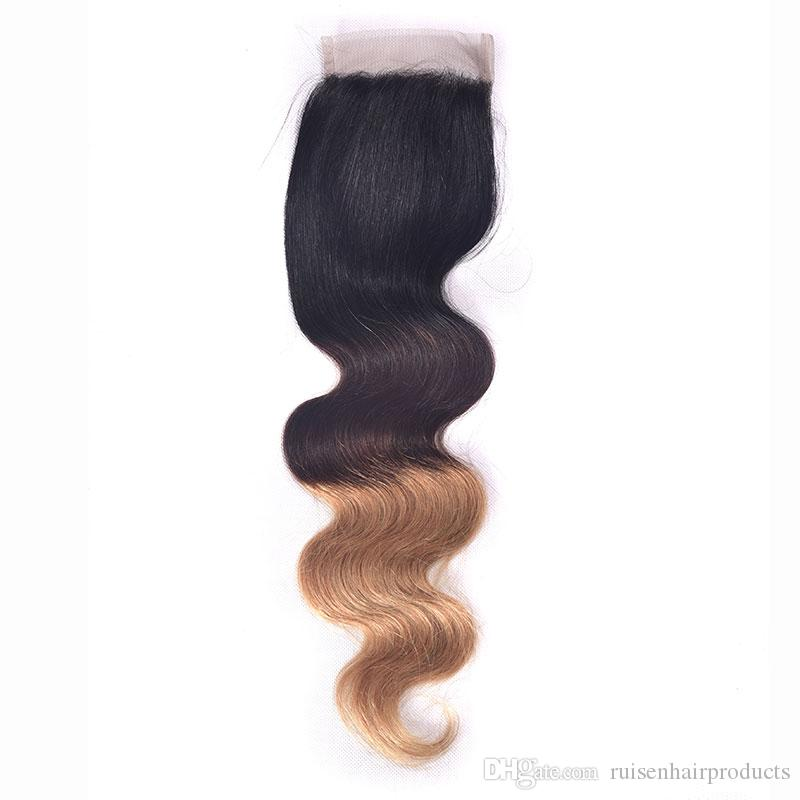 Peruvian Hair Weave 1B/4/27 Ombre Body Wave 3 Bundles Hair Wefts With Closure Double Drawn Remy Hair 6A Premium Now Hair