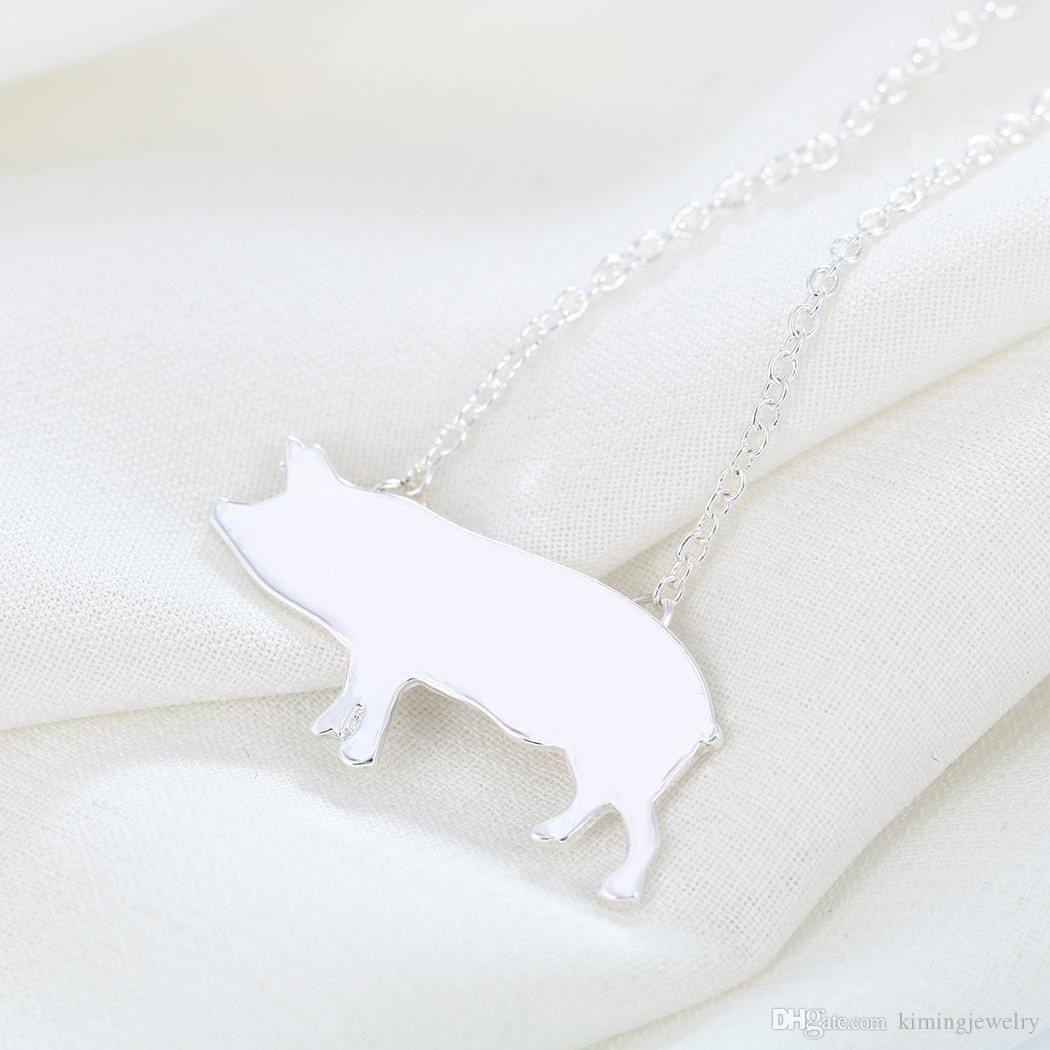 Wholesale Cute Pig Animal Necklace Gift for Women Girls Necklace Charm Pendant Statement Jewelry Collier Femme Discount
