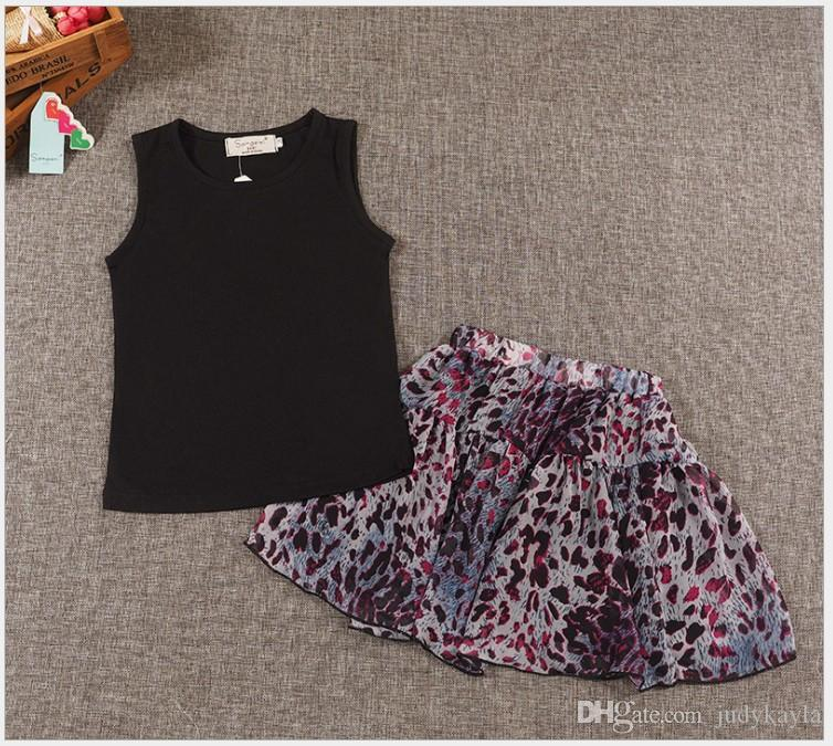 2016 New Summer Girls Clothing Sets Children Outfits Black Sleeveless Vest Tops + Leopard Skirt Set Kids Suit