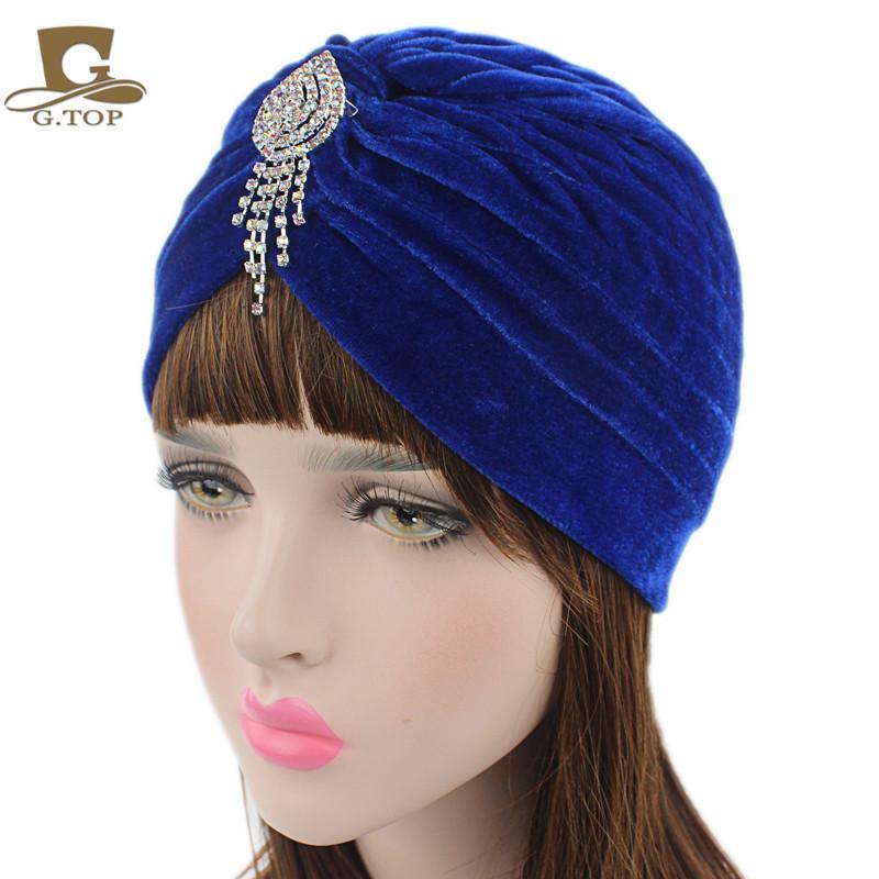 2016 New Fashion Women Jeweled Pendant Turban Soft Velvet Turban Headband  Knitted Head Wrap Indian Style Beanie Hat Turbante Canada 2019 From ... d5899808e10