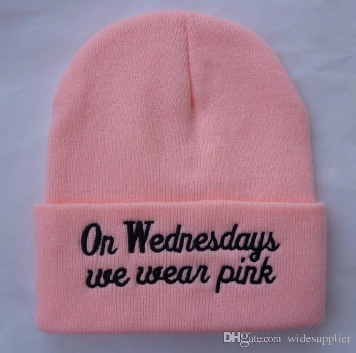 Çarşamba günleri biz pembe Beanie moda kap şapka sonbahar kış örme şapka kayak yün kap ouHeadgear Headdress Başkanı Isıtıcı Kayak sıcak şapka