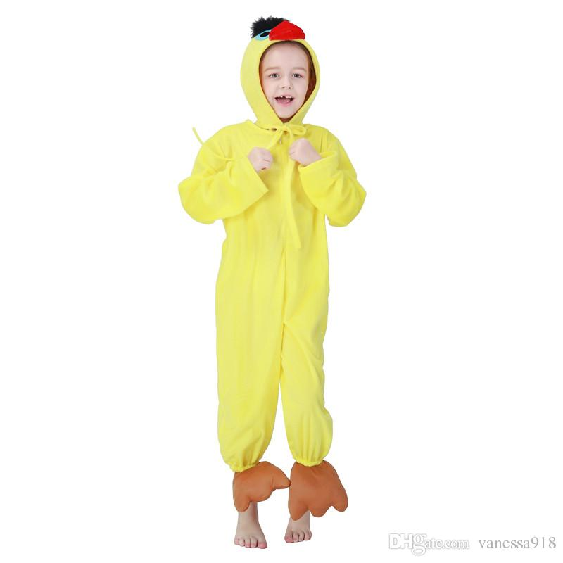 Girls Cartoon Animal Yellow Duck Costume Cosplay Clothes Children's Day Costumes Jumpsuit+Hat for Children Kids Wholesale PS050