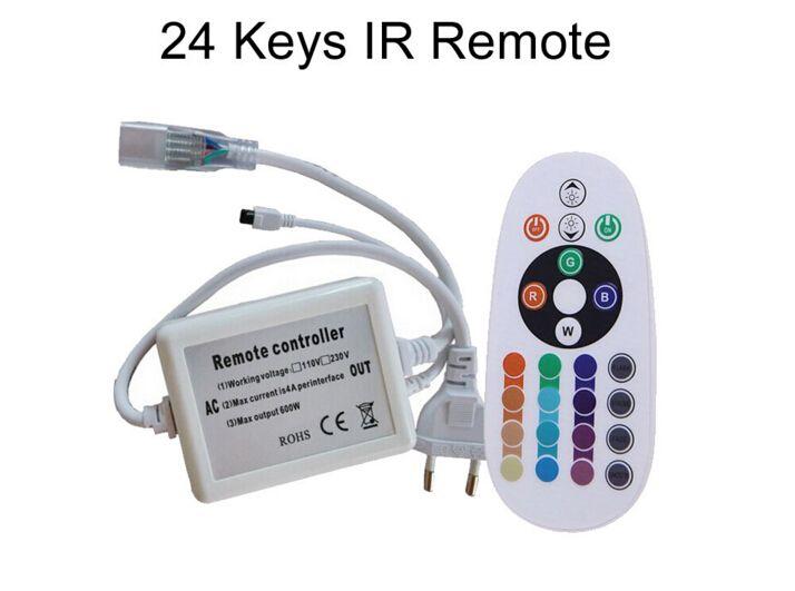 110V 220V RGB LED 램프 스트립 컨트롤러 smd 5050 방수 IP67 유연한 스트립 빛 원격 제어 EU 플러그 CE ROSH / DHL
