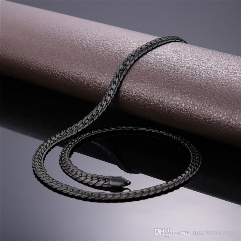 U7 Punk Chunky 6MM Snake Chain Necklace Bracelet Fashion Gold/Platinum/Rose Gold/Black Gun Plated Perfect Men Jewelry Hiphop Accessories