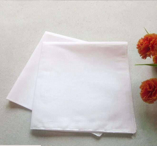 Pure White Hankerchiefs 100% Baumwolle Taschentücher Frauen Männer 41cm * 41cm Einstecktuch Hochzeit Ebene DIY Print Draw Hankie