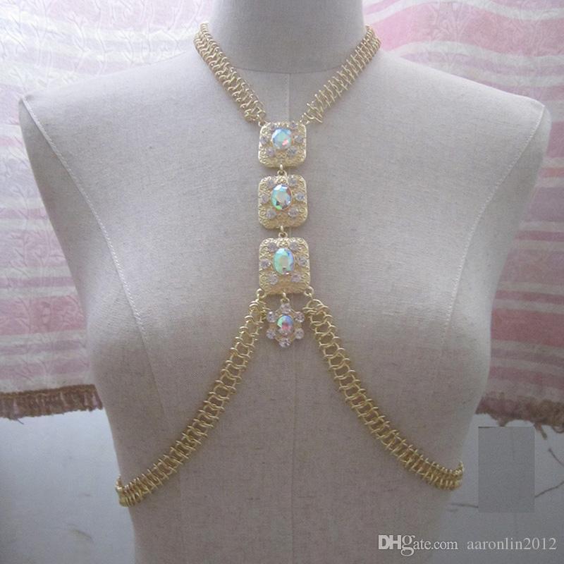 Nuevo diseño Rhinestone joyería de la cadena del cuerpo de las mujeres Sexy bikinis del vientre de la playa encadena cadenas largas colgantes de los collares del partido de la noche del club de accesorios