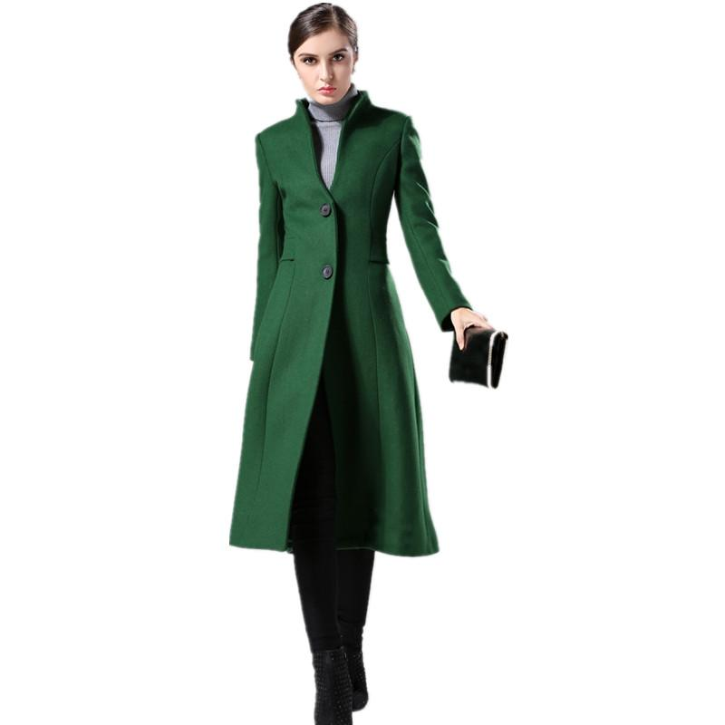 817a16a02b16c Cashmere Coat Female 2017 New Winter Coat Women Dark-green Wool Coat Stand  Collar Single-breasted Slim Long Overcoat Large Sizes