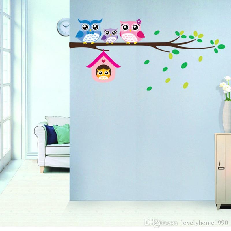 Corujas Árvore Ramo Removível Adesivo de Parede Vinyl Decal Crianças Nursery Decor Mural Art