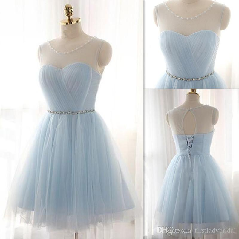 b993a4e8cdc Short Prom Dresses 2016 Sheer Scoop Neck Open Back Lace Up Homecoming Gowns  Light Sky Blue Beaded Tulle Ruched Mini Party Dress Prom Dress Outlet Prom  Dress ...