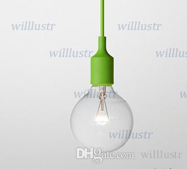 Renkli ışık Retro Resimler Dekor Silikon E27 kolye Lamba Tavan ampul Tutucu Askılı aydınlatma armatür baz Soket modern silika jeli