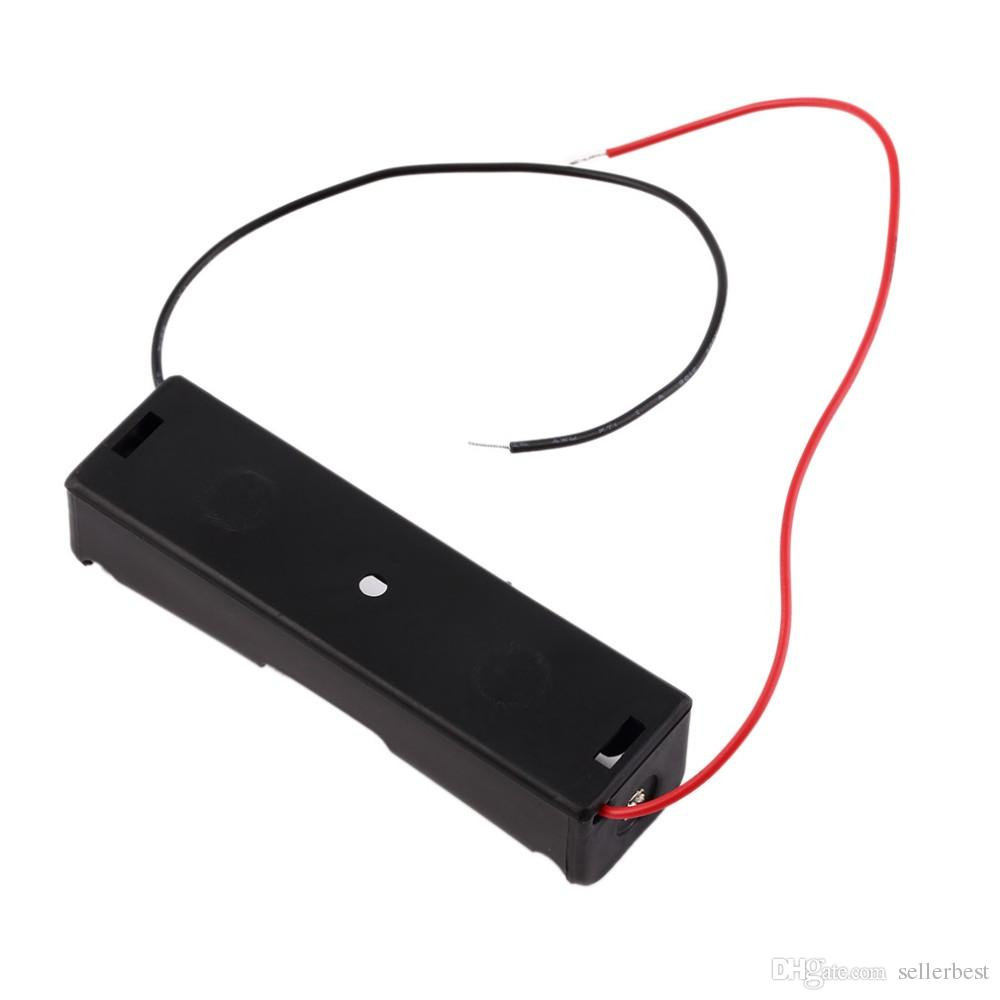 Plastic 18650 Battery Case Holder Storage Box with Wire Leads for 18650 Batteries 3.7V Black