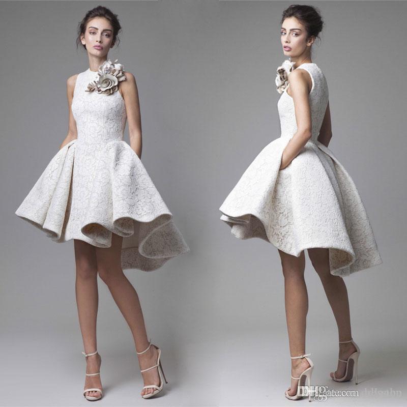 2019 Krikor Jabotian High Low Prom Dresses Jewel Neckline Handmade Flower Arabic Middle East Appliqued Party Dress Short Lace Evening Gowns