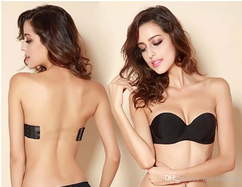 ed1a5f7e9a345 2019 NEW Strapless Bra Invisible Underwear Seamless Gather Bras A Wedding  Dress Sexy Temptation Have A Transparent Shoulder Strap A B C D Cup 249  From ...