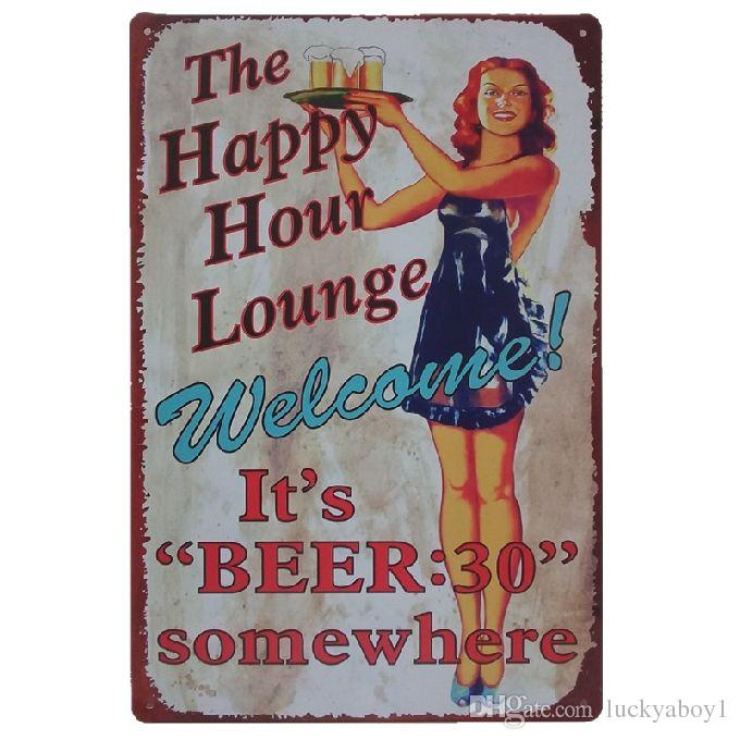 The happy hour lounge it's beer somewhere Retro rustic tin metal sign Wall Decor Vintage Tin Poster Cafe Shop Bar home decor